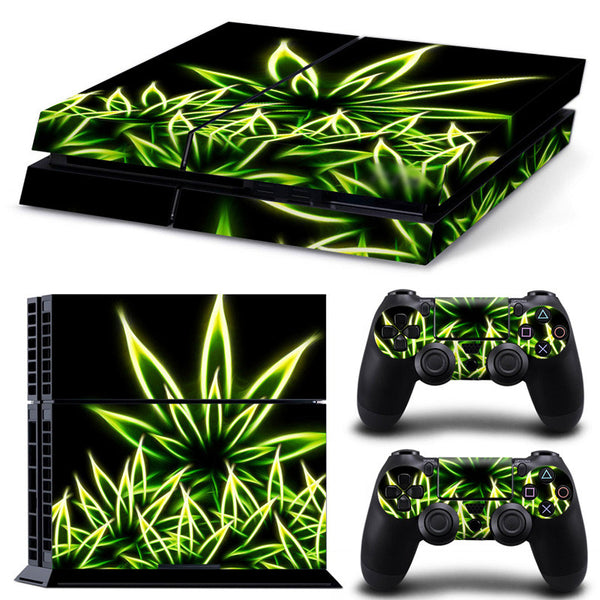 Laser Weed Decal for  Sony PlayStation 4 Console and 2 Controllers