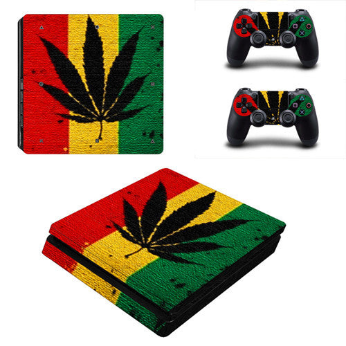 Weed Leaf PS4 Sticker Pack for console and two remotes
