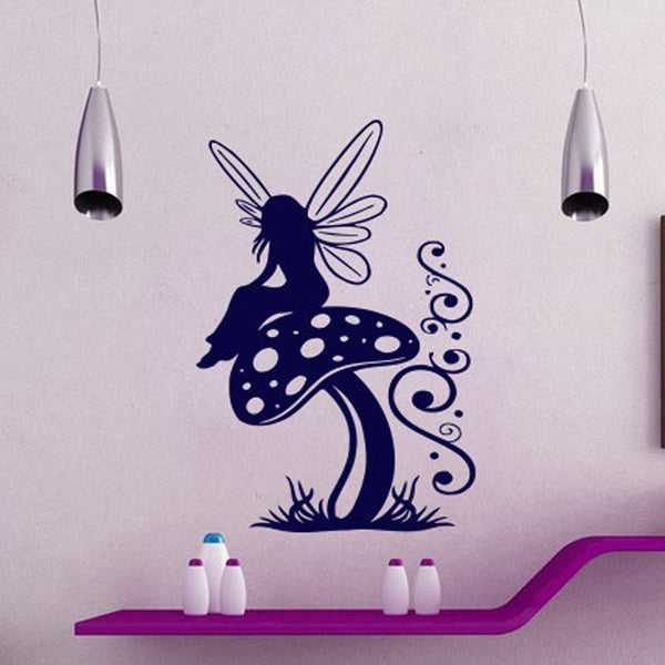 Fairy Sitting On The Mushroom Wall Decals