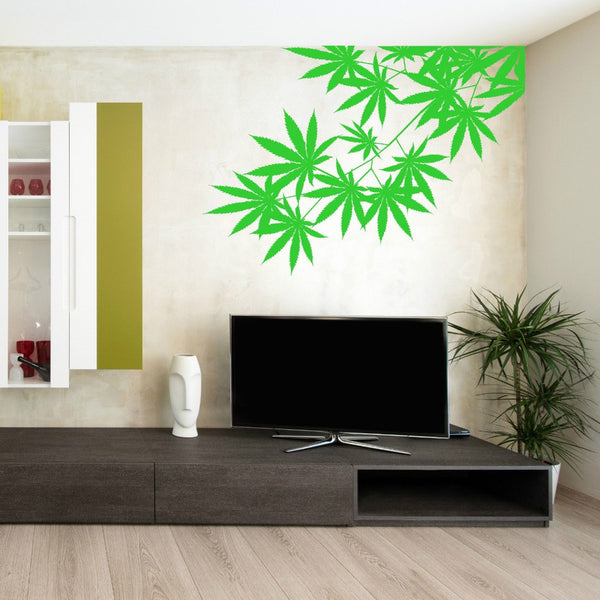 Green leaf weed decal