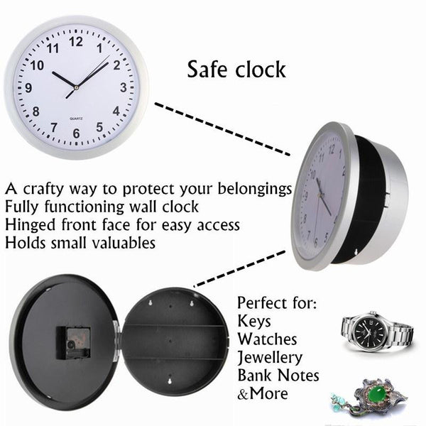 Secret Wall Clock Stash container