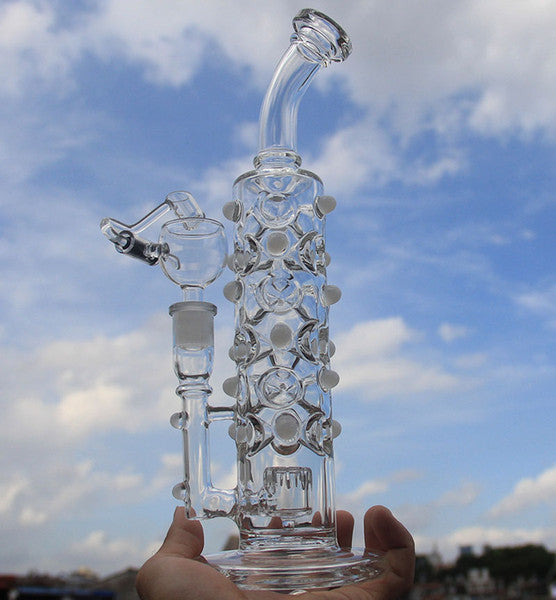 Extremely complex Two Functions glass recycler Glass water pipes Cute Colorful bong Oil Rigs Bongs dab rigs oil rig heady