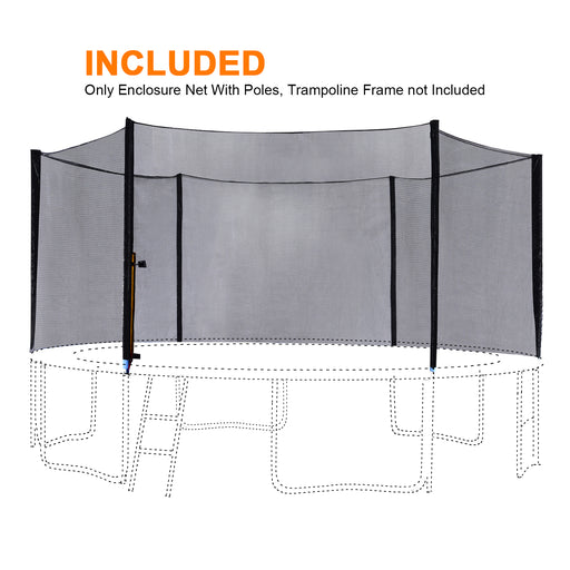 ExacMe 8ft-16ft Outer Safety Net Enclosure with Poles for T-Series Trampoline 6180 N008-N016