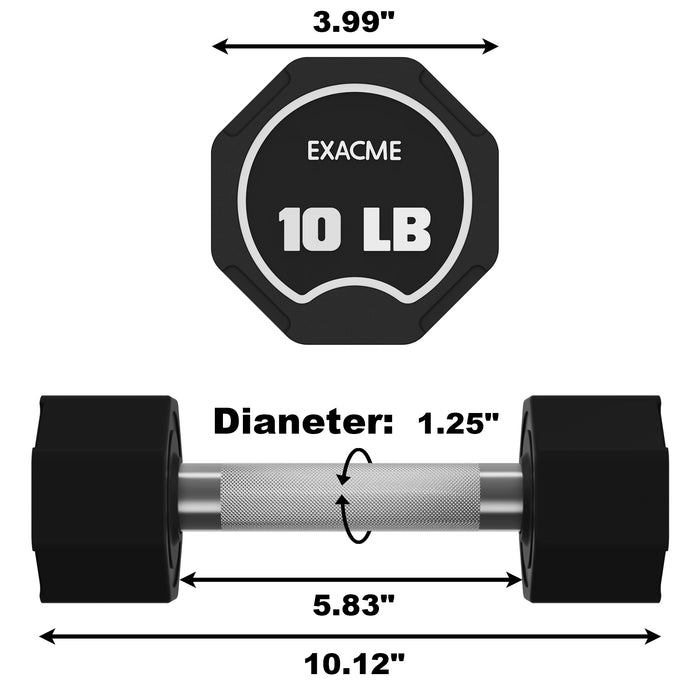EXACME Dumbbells Sets, Original Weights Dumbbells Sets with Anti-Slip Handle, Cast Iron Rubber Coated(10 lbs Pair) 6400-DP25