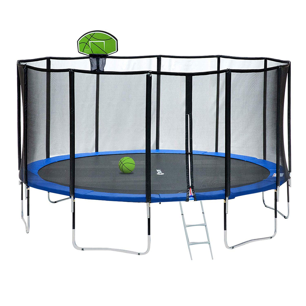 ExacMe 15 Foot Luxury Trampoline with Basketball and Premium Enclosure Carbon Fiber Rod, 400 LBS Weight Limit, L15+BH04