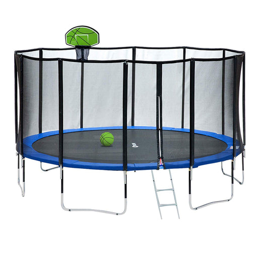 ExacMe 15FT Round Trampoline Carbon Fiber Top Tube 400 LBS Weight Limit with Green Basketball Hoop, L15