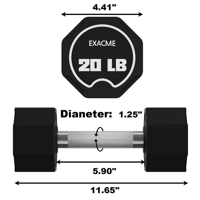 EXACME Dumbbells Sets, Original Weights Dumbbells Sets with Anti-Slip Handle, Cast Iron Rubber Coated(20 lbs Pair) 6400-DP46