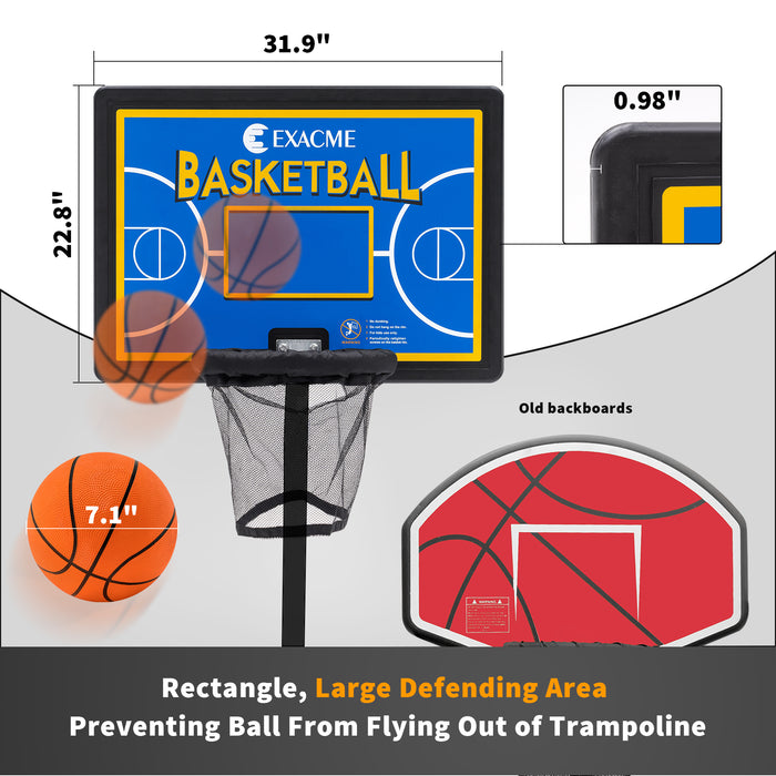 "Exacme Rectangle Basketball Hoop and Ball for Trampoline, 31.9"" x 22.8"", Attachment for Straight Enclosure Net Pole (Pump, Instruction Manual Included)"