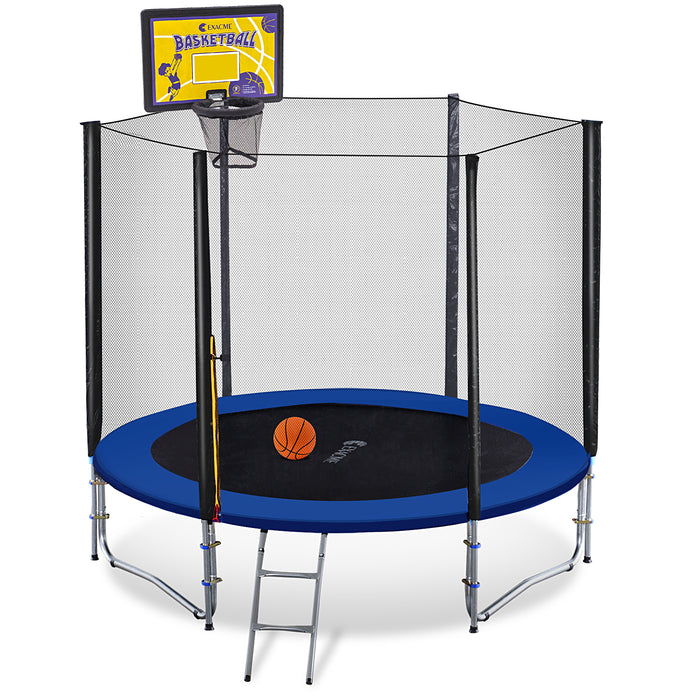 ExacMe Outdoor Trampoline 16 15 14 13 12 10 8 Foot with Rectangular Basketball Hoop Outer Enclosure and Ladder, T8-T16+BH07
