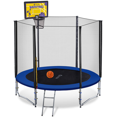 ExacMe 8 FT 3W Legs Round Trampoline w/ Safety Pad & Enclosure Net & Ladder ALL-IN-ONE COMBO T8