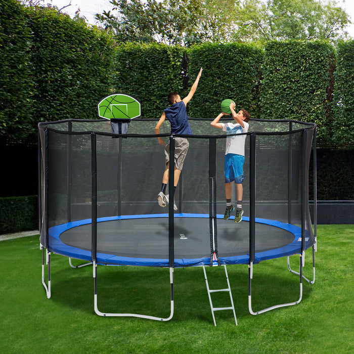 ExacMe 15 Foot Basketball Trampoline with Premium Enclosure Carbon Fiber Rod, 400 LBS Weight Limit, L15+BH04