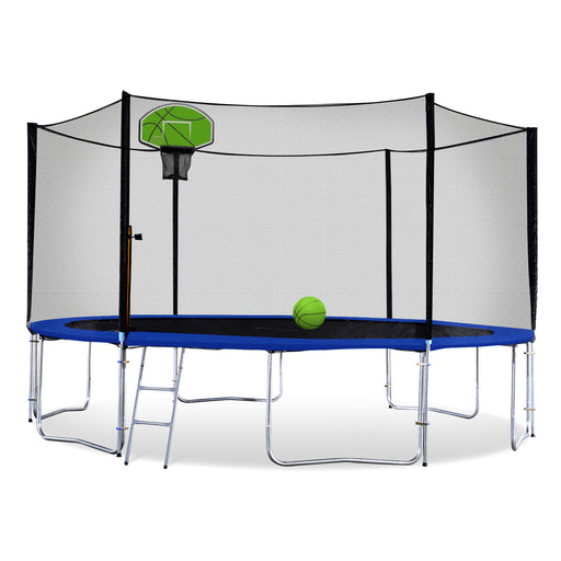 ExacMe Basketball Trampoline 16 15 14 13 12 10 8 Foot with Outer Enclosure and Ladder, Green/Orange T8-T16