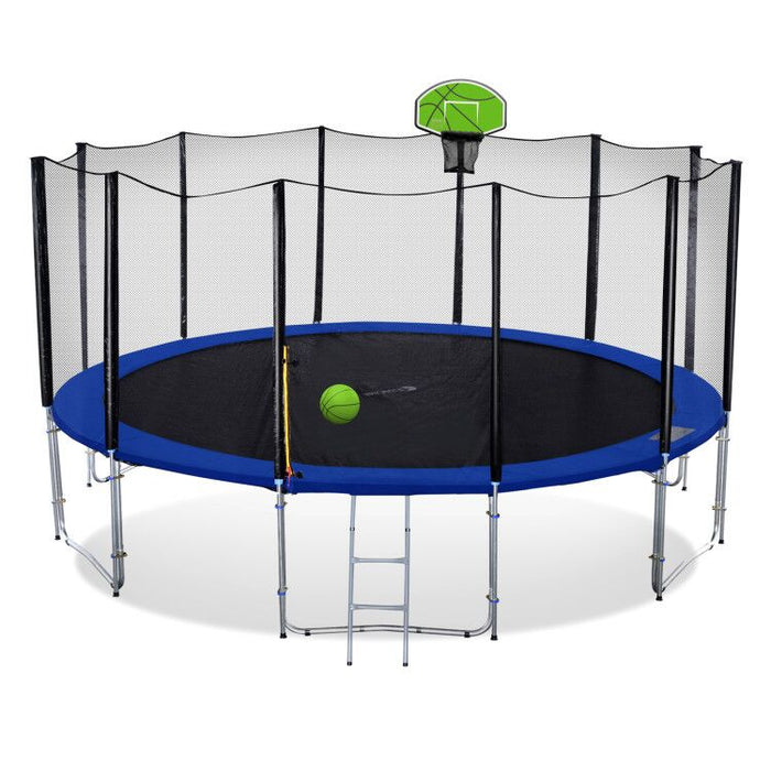 ExacMe Outdoor Trampoline 16 15 14 13 12 10 8 Foot with Basketball Hoop, Outer Enclosure and Ladder, T8-T16+BH04