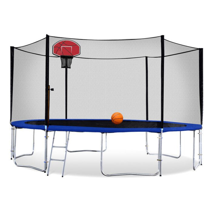 ExacMe Round Trampoline 16 15 14 13 12 10 8 Foot with Basketball Hoop and Enclosure Ladder, Green/Orange T8-T16