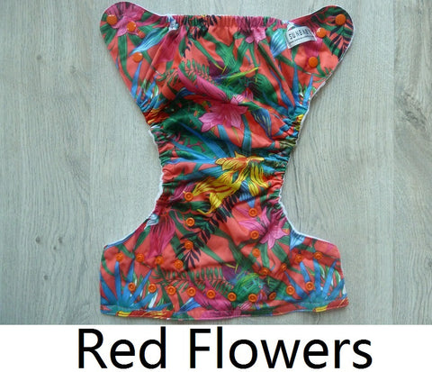 Sunbaby Pocket Diaper Size 2  - Red Flowers