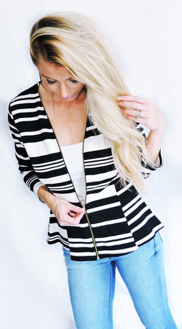 Zip Up Stripes On Stripes Jacket - Klutch Trends