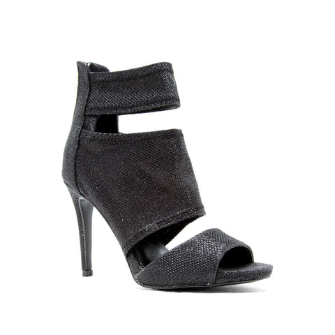 Black Peep Toe Band Bootie - Klutch Trends