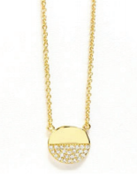 Circle Half Crystal Necklace - Klutch Trends