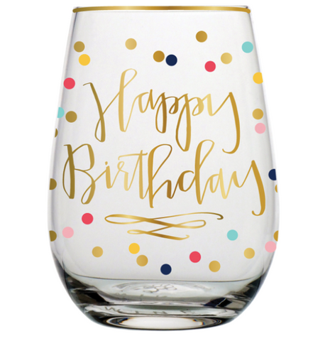 18oz Happy Birthday Stemless Wine Glass
