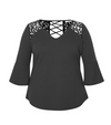 Kimono Sleeve Top With Laced Back - Klutch Trends