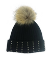 Cuffed Silver Stud Beanie With Luxe Pom - Klutch Trends