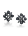 Black Floral Crystal Earring - Klutch Trends