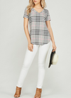 Plaid V-Neck Top - Klutch Trends
