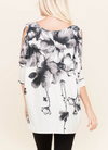 Split Sleeve Floral Tunic - Klutch Trends