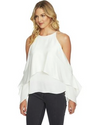 Cold Shoulder Overlay Blouse - Klutch Trends