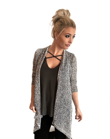 Long Salt & Pepper Cardigan