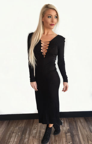 Reversible Corset Neck Midi Dress - Klutch Trends