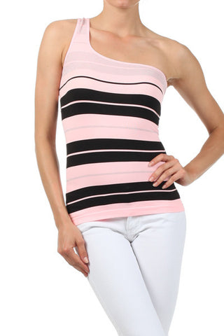 ONE SHOULDER STRIPE TOP - Klutch Trends