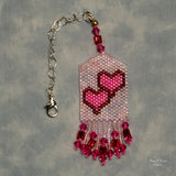 Beaded Hearts Scissor Fob