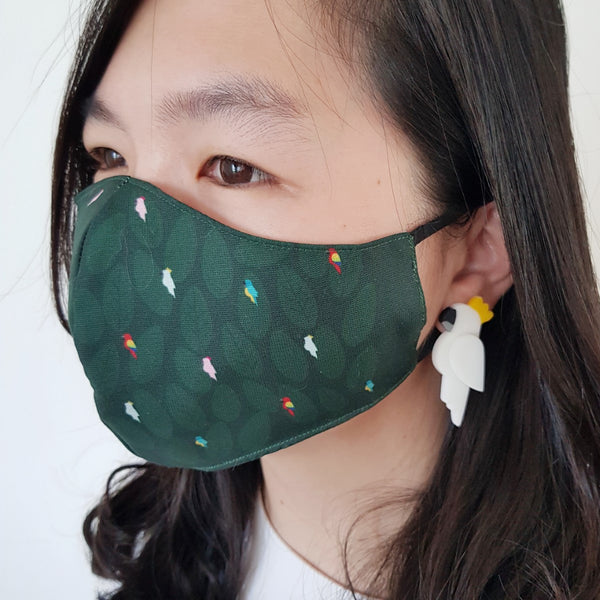 Bird Green Mask - Cockatoo White Earrings