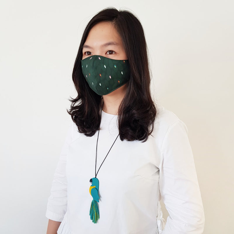 Bird Green Mask - Macaw Turquoise Tassel Necklace