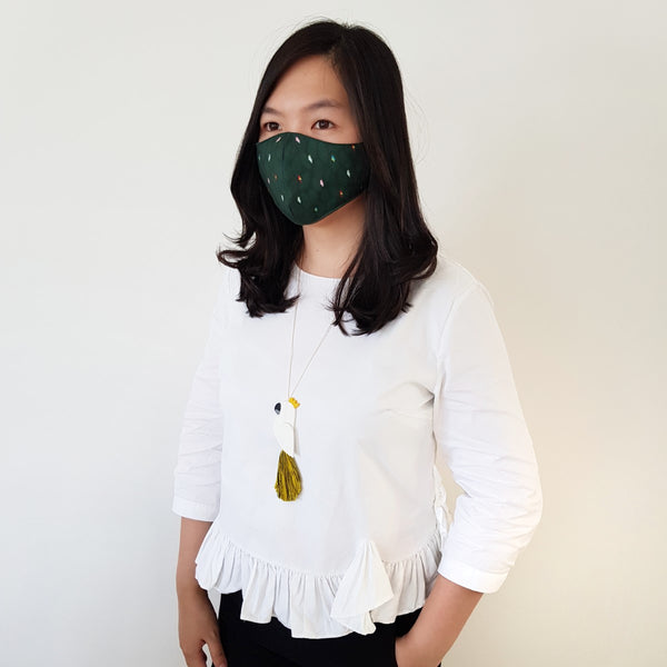 Bird Green Mask - Cockatoo White Tassel Necklace
