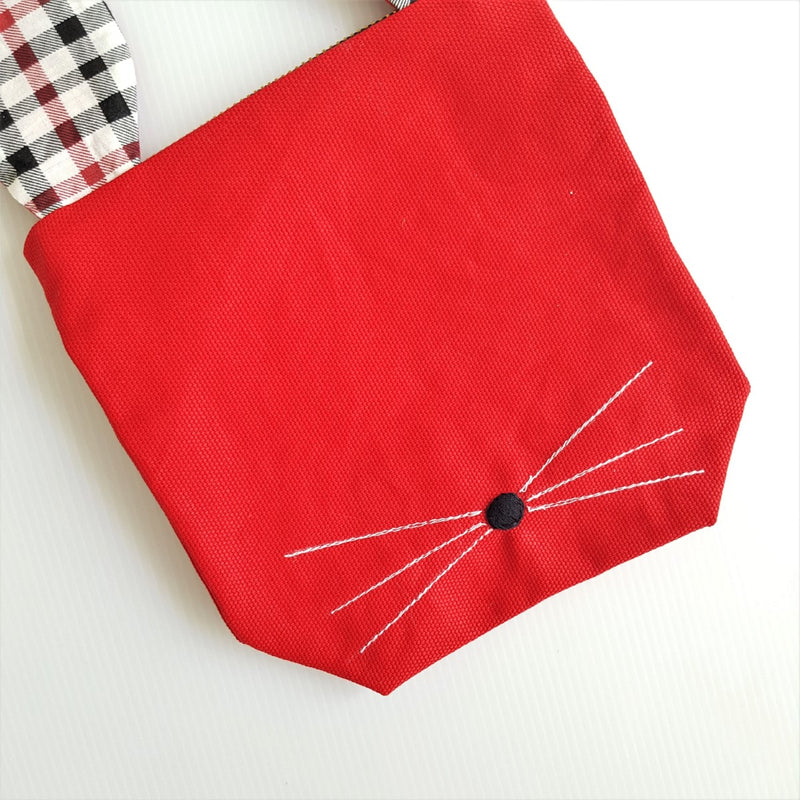 Rabbit Pouch Festive Red