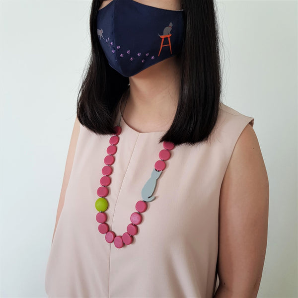 Cat Mask - Mimi Pink Necklace