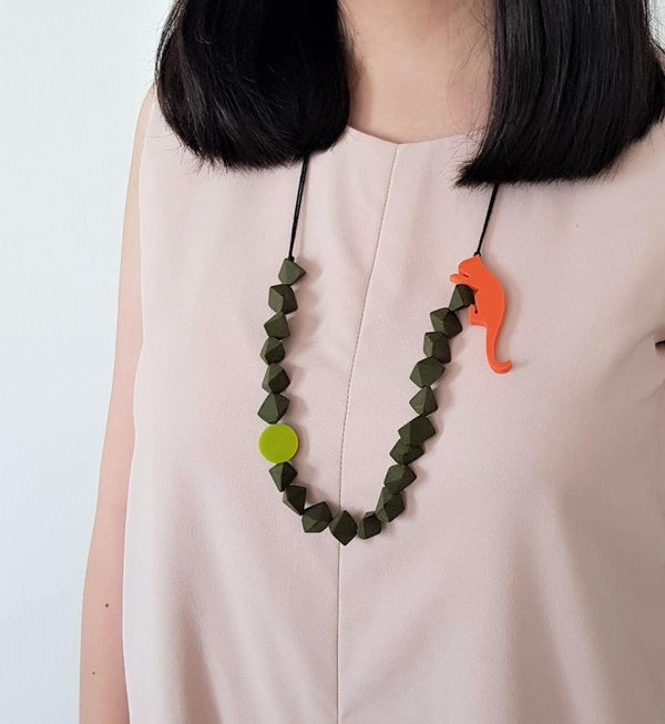 Wild Cat Army Green Necklace
