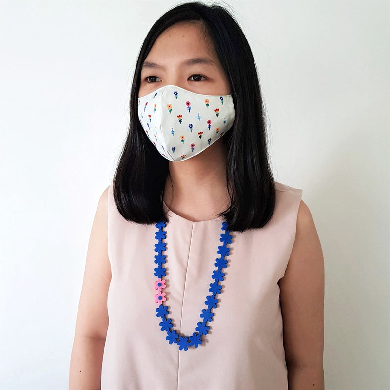 Flower Mask - Garland Blue Necklace