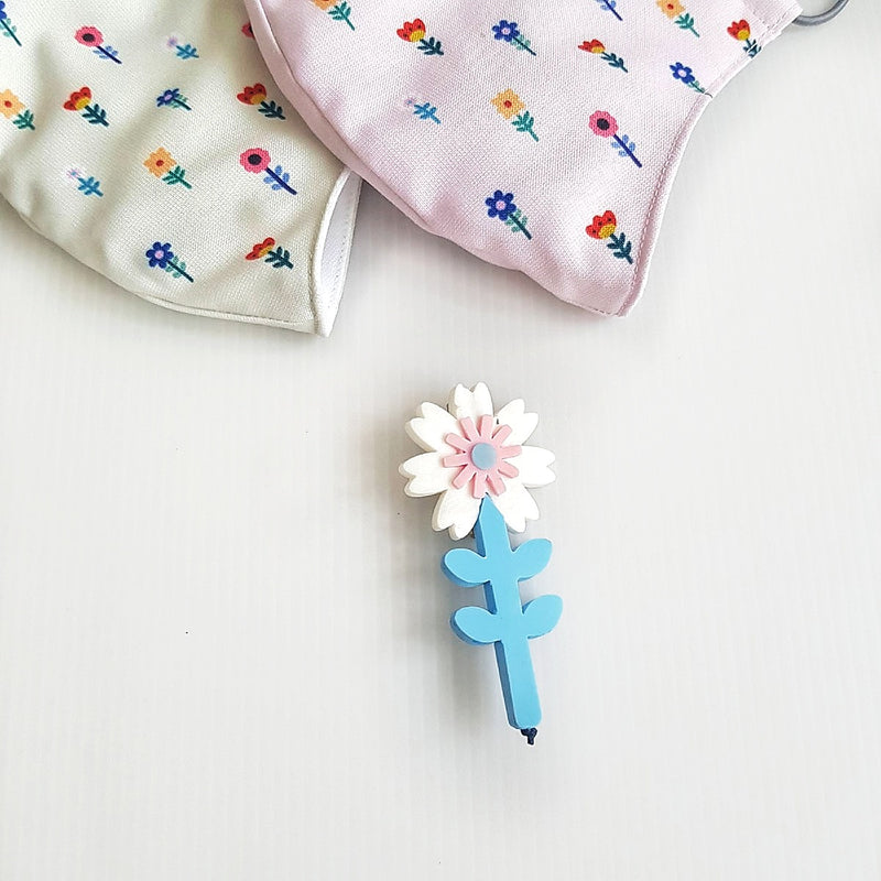 Flower Mask - Camellia White Flower Brooch