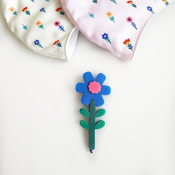 Flower Mask - Brunera Blue Flower Brooch