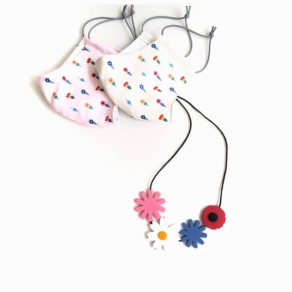 Flower Mask - Flower Bouquet Necklace