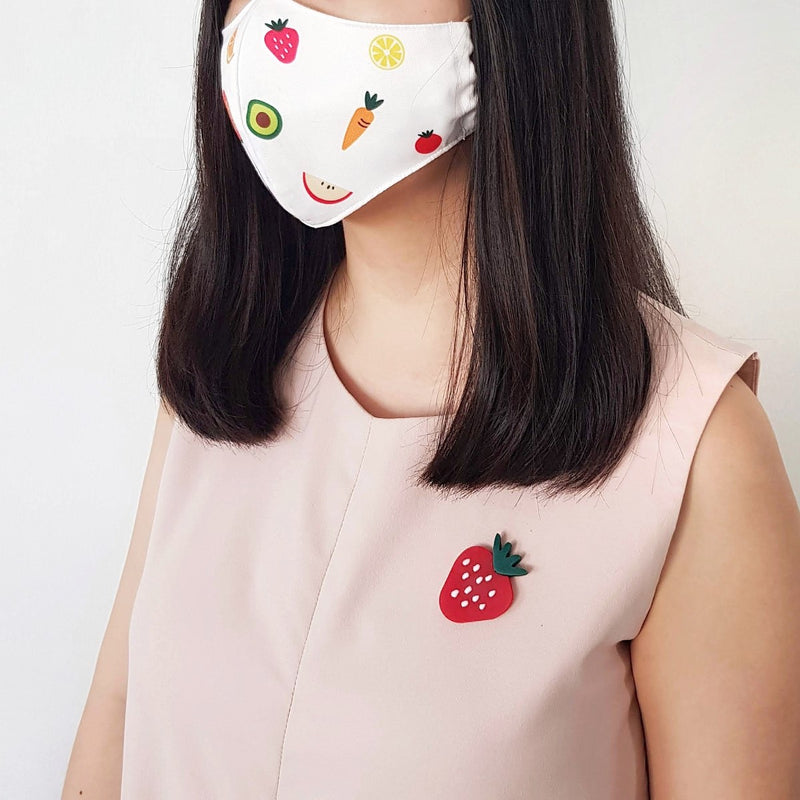 Fruit Mask Bundle - Strawberry Brooch