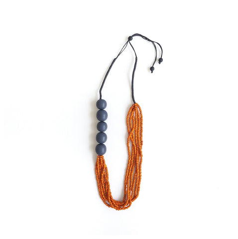 Bimetry Dark Grey-Orange Necklace