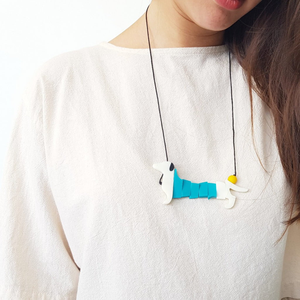 Dachshund White Necklace