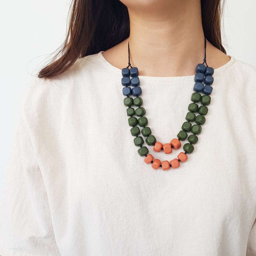 Rubic Navy Orange Necklace