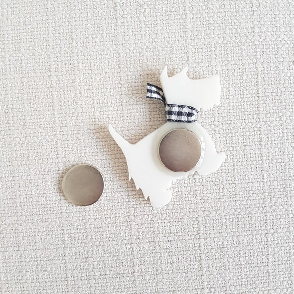 Scottish Terrier White Brooch