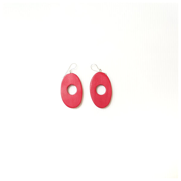 Ola Wood Red Earrings