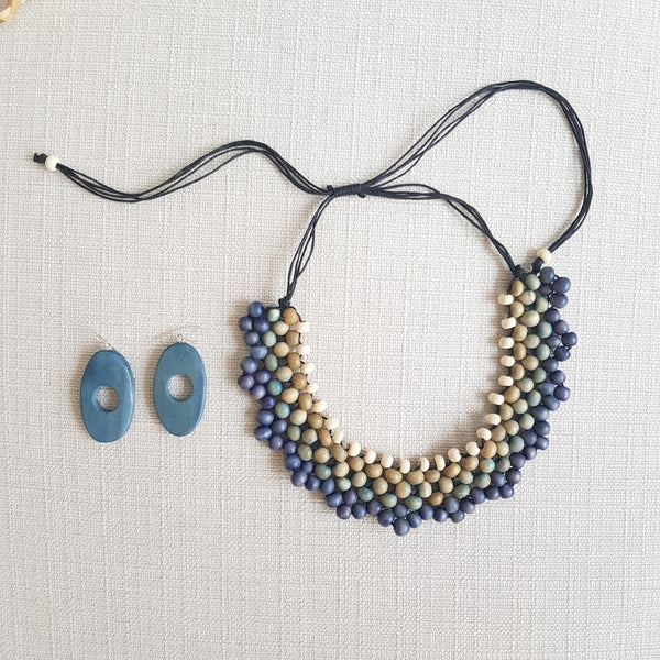Ola Wood Blue Earrings